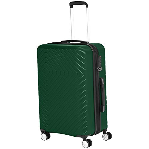 AmazonBasics Geometric Hard Shell Carry-On Rolling Spinner Suitcase Luggage - 24 Inch, Green