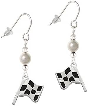 Checkered Race Flag Imitation Pearl French Earrings