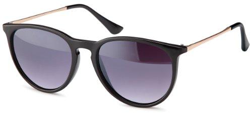 Vintage Sonnenbrille im 60er Style mit trendigen goldfarbenden Metallbügeln Panto - Retro Brille