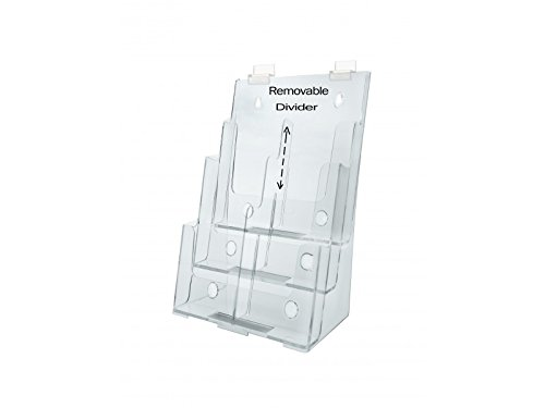 Clear Acrylic 3-Tier Slatwall Brochure Holder for 8.5