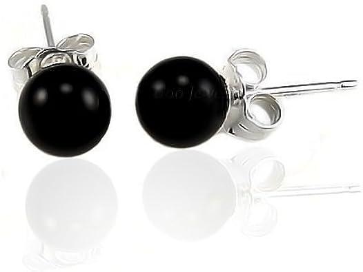 Piedras Preciosa Simple Black Onyx Pendiente De Boton Bola Redonda Para Mujer 925 Plata De Ley 925 6Mm