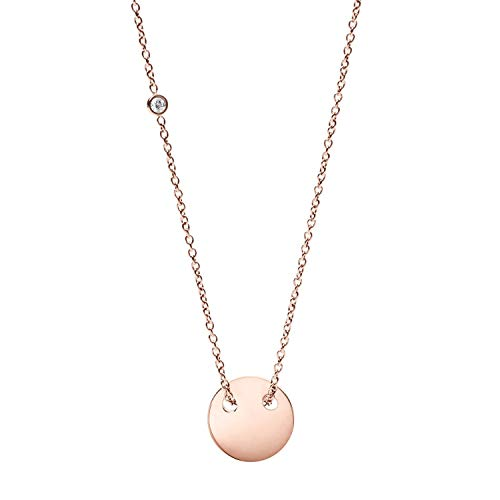 Fossil Engravable Rose Gold Pendant Necklace (Fossil Round Pendant)