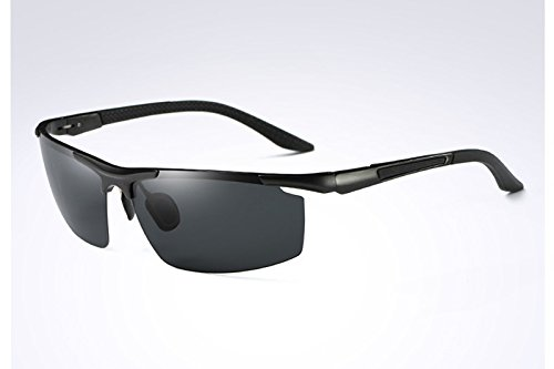 L'homme Rectangle sans Lunettes Sport Lunettes de GRAY Mens Soleil Polarisées BLACK pour Sunglasses Guide Miroir Monture TL de Hommes wq0a584