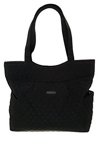 (Vera Bradley Pleated Tote Zip Top Bag Stamped Micro Black)
