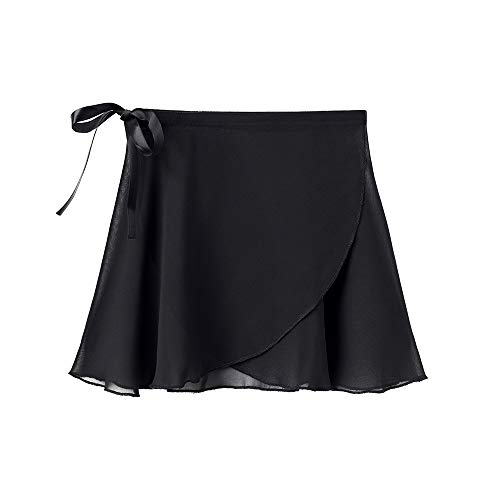 STELLE Girls/Womens Chiffon Ballet Wrap Skirt for Dance, Adjustable Tie (Black, Women-M)