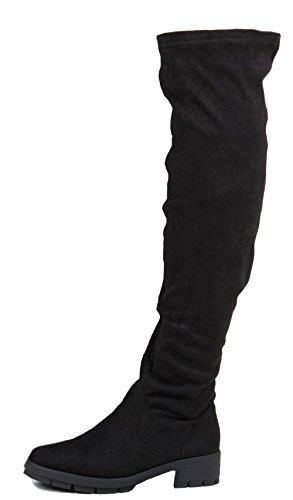 Wide High K Over Boots Heel Style 3 Thigh Suede new Ladies 8 Flat Winter Biker Size Leg Knee Riding Womens Calf Black Low Style Chelsea w4qzOB46