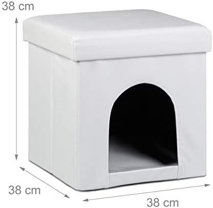 Relaxdays 10019046 Maison pour petits chiens et chats pliable pliante banc en similicuir confortable Tabouret abri panier malle cube niche HxlxP : 38 x 38 x 38 cm repose-pieds couvercle amovible, blanc