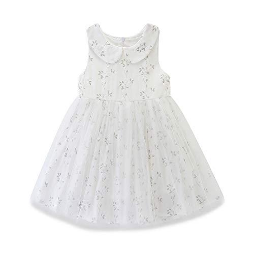 - Toddler Baby Girl Peter Pan Collar Sleeveless Tank Top Floral Tulle Skirt Dress White
