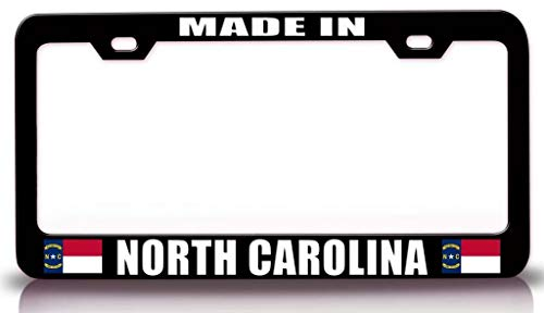 Customola - Made in North Carolina w/Flag State Flag Steel Metal License Plate Frame Bl