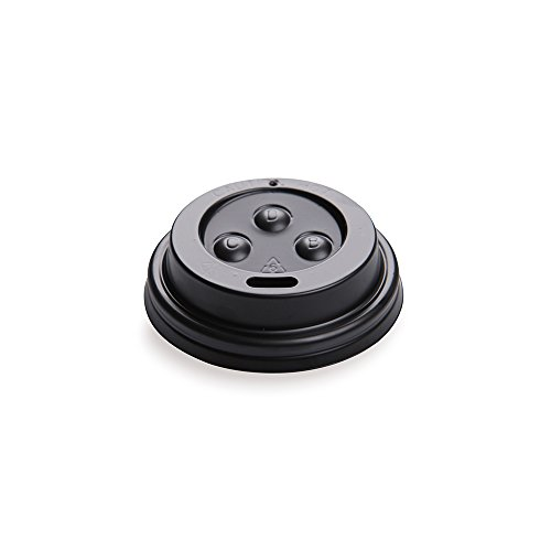 50-CT Disposable Black Lid for 4-OZ Coffee and Tea Cups: Perfect for Coffee Shops, Juice Shops, and Restaurant Takeout ? Recyclable Polystyrene Cup Lid ? Restaurantware