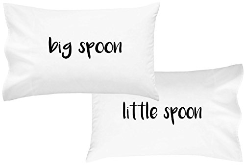 Oh, Susannah Big Spoon Little Spoon V2 Couples Pillowcases For Couples Wedding Gift Anniversary Gift For Her or Him His and Hers Gifts Valentines Day gifts For Her (2 Standard/Queen Pillowcases)