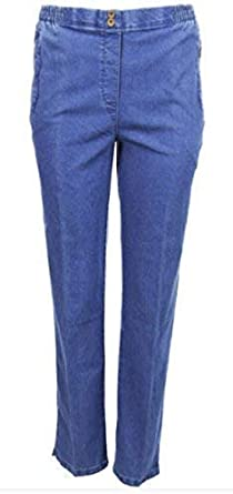 ex-Marks and Spencer Blue Denim Jeans One Leg Print Detail New Uk Sizes 10 to 18