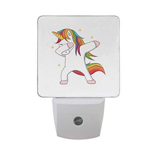 Plug in Night Light Lamp Magic Raibow Hair Unicorn Dusk to Dawn Sensor LED Nightlight Smart Automatically Lights Bedroom, Bathroom, Kitchen, Hallway, Stairs, Energy -