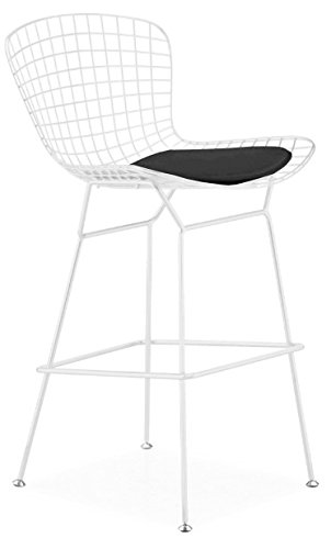 Excellent Amazon Com Bertoia Style Wire Counter Stool In White Finish Theyellowbook Wood Chair Design Ideas Theyellowbookinfo