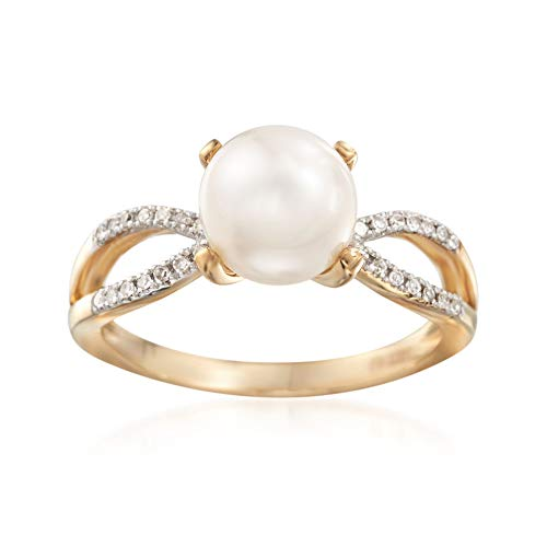 Ross-Simons 8mm Cultured Pearl and .10 ct. t.w. Diamond Ring in 14kt Yellow Gold