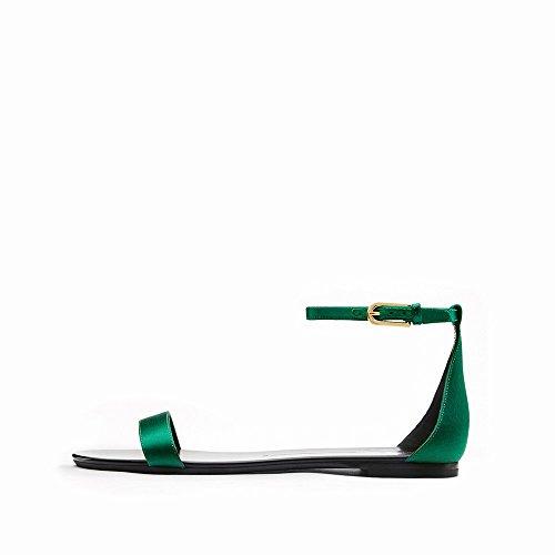Sandales Rond Chaussures Talon Mot Simples Mot B D'Été Plat CWJ Chaussures Bouton dHEw1d