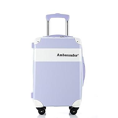 Ambassador Crystal Trunk Box Case 20 Inch Carry on Spinner (Light Purple)