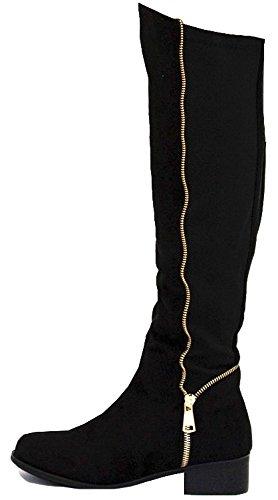 Size Low Flat Style Leg Knee Biker L Womens 3 Suede 8 Winter Boots Black Style Riding Heel Calf XqwqpIP