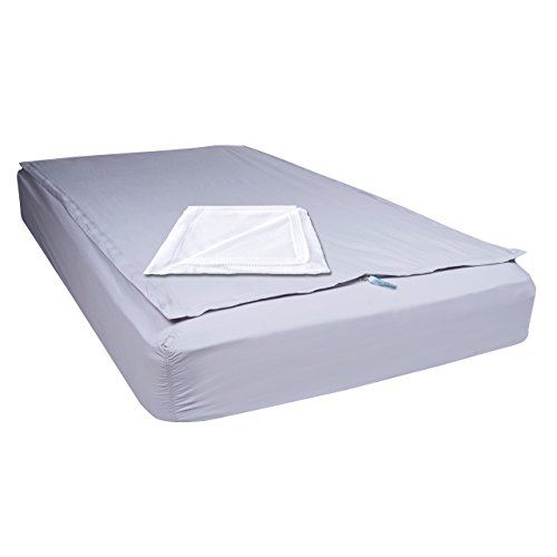 QuickZip the Only Fitted Sheet Made Just for Bunk Beds,Twin, 2 Zip-On Sheets: 1 Gray Cotton & 1 White Fleece + 1 Fitted Base in Gray Cotton (Bed Bunk Bed 1)