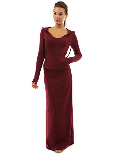 PattyBoutik Women's Hoodie Pocket Blouson Maxi Dress (Burgundy M)