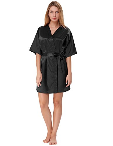 Sleep Robe for Women Pure Color Lingerie Robe with Pockets Black Size XL ZE51-1