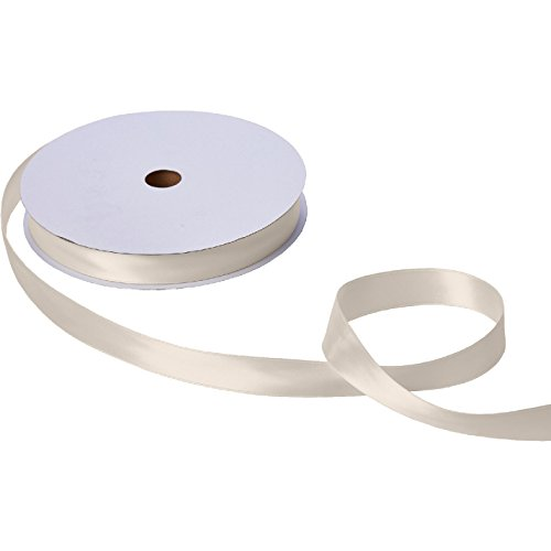 Jillson & Roberts Double-Faced Satin Ribbon, 1'' Wide x 100 Yards, Ivory by Jillson Roberts