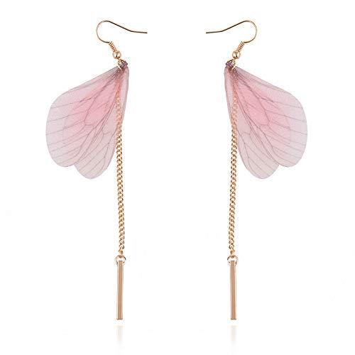 Pink Pendant   Butterfly Design Fashion   Drop Earring for Women   Long Metal Vintage Dangle   Bridal Earrings Jewelry Gift