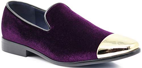 SPK17 Men's Vintage Fashion Velvet Chrome Toe Designer Dress Loafers Slip On Shoes Classic Tuxedo Dress Shoes (9.5 D(M) US, - Designer Purple Shoes