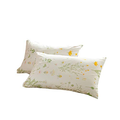 BuLuTu Cotton Floral Print Bed Pillowcases Set of 2 Queen White Kids Pillow Covers Decorative Standard for Boys Girls Envelope Closure End (2 Pieces,20