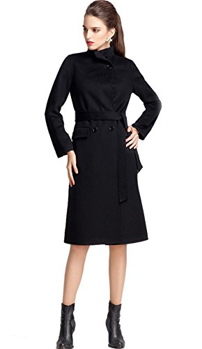 Icegrey Women's Stand Collar Notch Lapel Wool Cashmere Wrap Coat with Belt Black - Cashmere Belt Wool