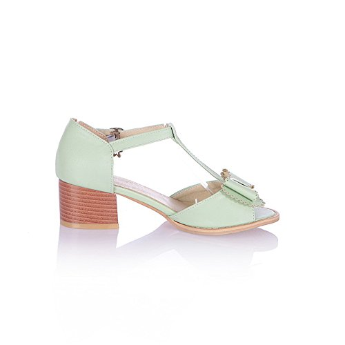 US Heel Soft Buckle Kitten Solid Womens Toe Open Peep Bowknot 5 with M Sandals B and WeenFashion Material Green PU XCHq4