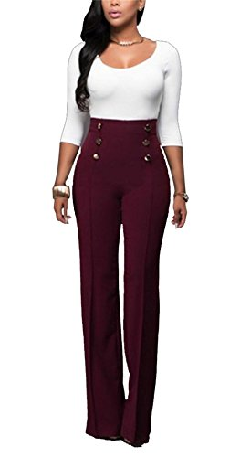 LKOUS Women's Stretchy High Waisted Wide Leg Button-Down Pants (XL, 26-Wine) ()