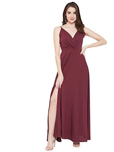 Berrylush Red Solid V Neck Maxi Dress