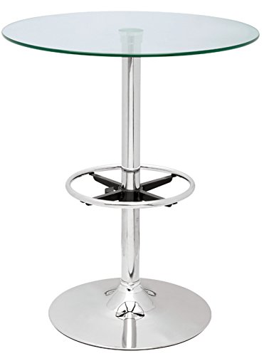 Glass Pub Top Table - Milan Pepper Clear/Chrome Round Glass Top Pub Table
