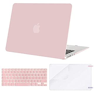 MOSISO Plastic Hard Shell Case & Keyboard Cover & Screen Protector Only Compatible with MacBook Air 13 inch (Models: A1369 & A1466, Older Version 2010-2017 Release), Rose Quartz