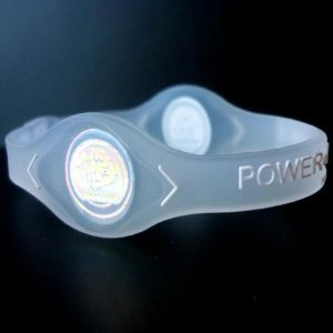 Power Balance Silicone Wristband Bracelet (Color: Clear/White Letter size: Medium) (White Silicone Bracelet)
