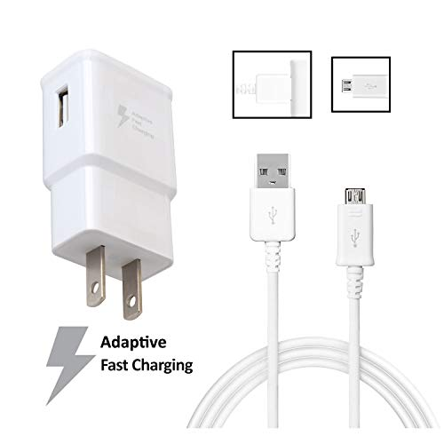 OEM Quick Fast Charger Compatible with Samsung Rugby III Cell Phones[Wall Charger+5 FT Micro USB Cable]-AFC uses Dual voltages for up to 50% Faster Charging!-Bulk Packaging-White