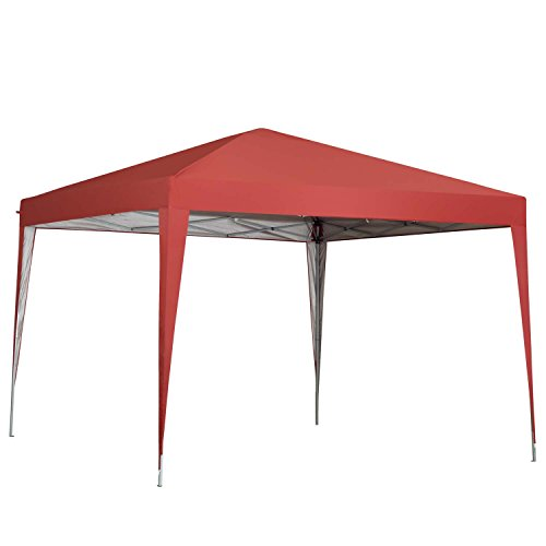 Tailgate Gazebo - Outdoor Basic 10 x 10 ft Pop-Up Canopy Tent Gazebo for Beach Tailgating Party Red