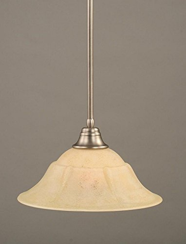 Toltec Lighting 26-BN-53618 Stem Pendant Light Brushed Nickel Finish with Italian Marble Glass Shade, 16-Inch