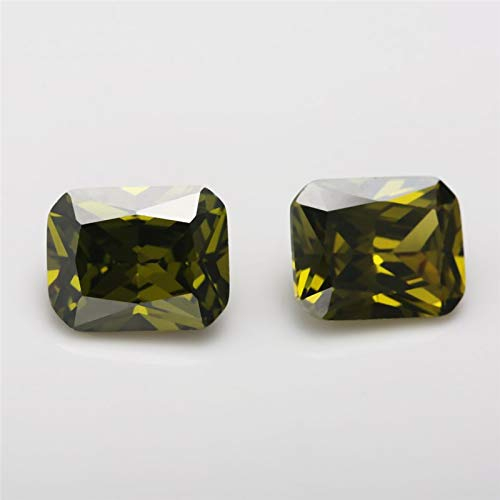 Olive Green Color CZ Stone Synthetic Gems Cubic Zirconia for Jewelry Calvas Size 46~1318mm Octangle Shape 5A Item Diameter: 4x6mm 50pcs