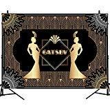 Mehofoto Great Gatsby Backdrop Retro Flapper Girl Background 20 's Party Backdrop Art Decor 8X6ft Vinyl Adults Birthday Party Celebration Photo Studio Booth ()
