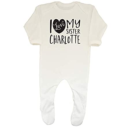 Shopagift Baby Personalised I Love My Sister Sleepsuit Romper 317iNPatk3L