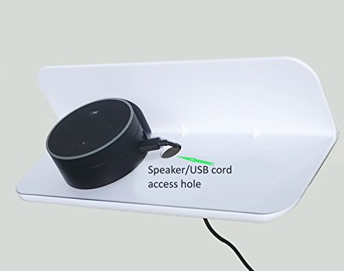 Stick On Small Shelf for Dot, Echo, Bluetooth Speakers etc. (white)