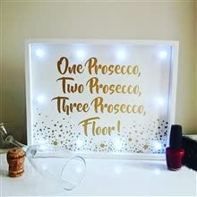 31CM PROSECCO SERVED HERE PROSECCO LIGHT UP WHITE /& GOLD LED SIGN PLAQUE