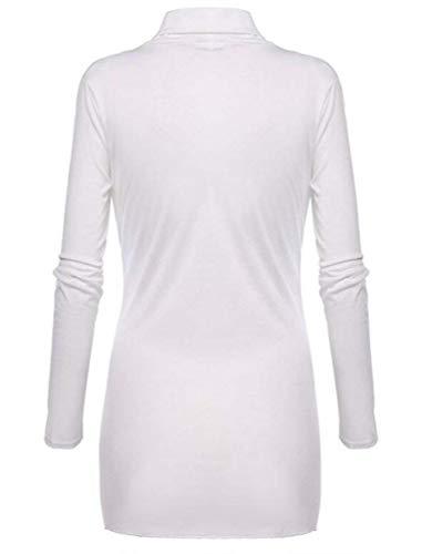 Al Lunga Autunno Cappotto Giacca Vintage Stlie Unique Primaverile Donna Monocromo Nodo Outerwear Casuale Irregolare Giaccone Fit Slim White V Festiva Manica neck wSa7Rqv