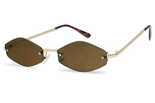 SunglassUP 90's Retro Vintage Small Tiny Narrow Rimless Oval Geometric Designer Color Tinted Sun Glasses (Gold Frame | ()