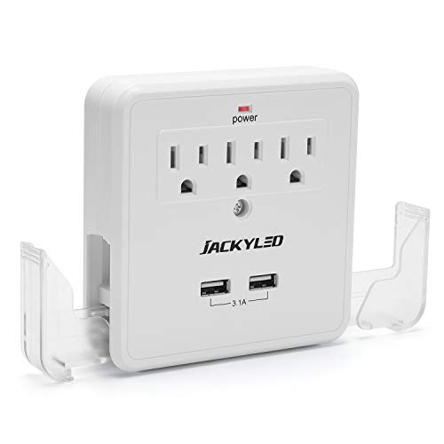 Multi Wall Outlet Extender with Phone Holders JACKYLED Mountable Surge Protector(900J) Power Strip Wall Charger with 2 USB 3 Outlet Splitter No Cord Plug Strip for Home School Office, ETL Certifed