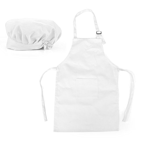 (Opromo Colorful Cotton Canvas Kids Aprons and Hat Set, Party Favors(S-XXL)-White-S)