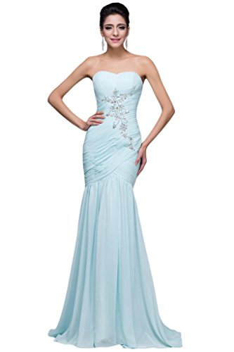 Sunvary Chiffon strass Back Lace Up pieghe Ruffle damigella d' onore Prom dresses Light Sky Blue 52