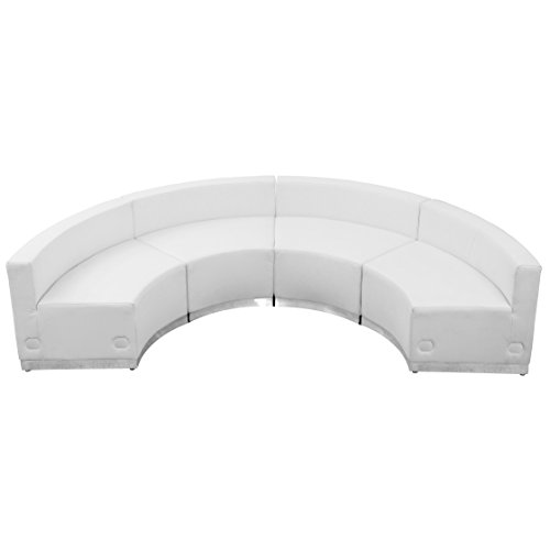 Flash Furniture HERCULES Alon Series Melrose White Leather Reception Configuration, 4 Pieces from Flash Furniture